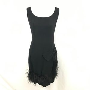 Vintage Black Fitted Feather Dress